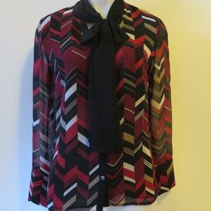 NWT  KARL LAGERFELD  LONG SLEEVE BLOUSE S/P